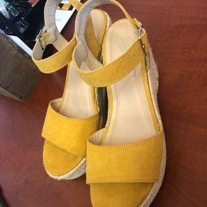 Mustard Wedge Sandals
